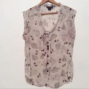 Fashion print sheer blouse